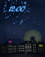 花火にのせて日付と時間が打ち上がるデジタル時計です。日曜日には、観覧車が運転されます。