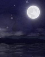 月齢表示もできる月が水面にゆらめき、ふわふわとダストが舞いあがります。妖精がときどき現われます。