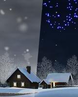 『夜に雪が深々と降るシーン』と『月夜に打ち上げ花火があがるシーン』とが交互に表示されます。
