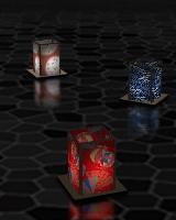 数十種類の伝統文様の3次元の灯篭が、ランダムに現れ、静かに流れていきます。