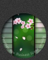 丸窓の障子越しに、桜の花びらが舞い降ります。マウスで触れると障子が左右に開きます。