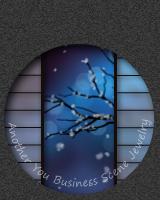 丸窓の障子越しに、雪が降り木の枝に積もっていきます。マウスで触れると障子が左右に開きます。
